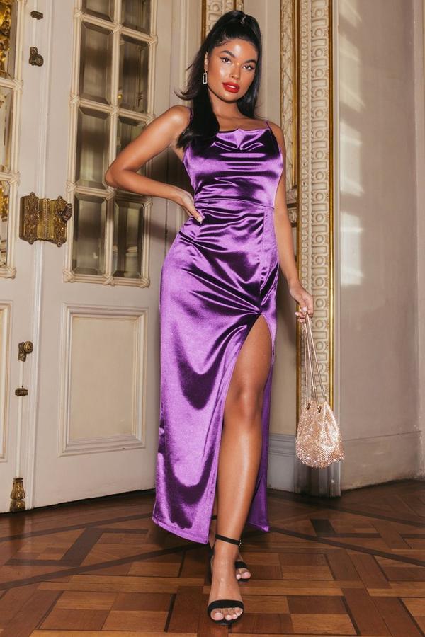 Sam Faiers Petite Purple Satin Cowl Neck Split Maxi Dress
