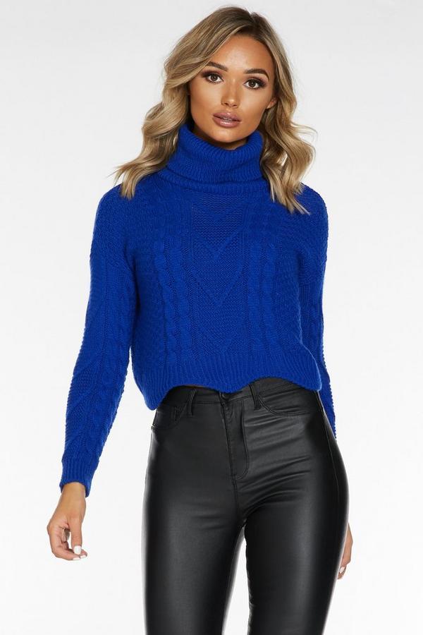 Jersey Corto Azul Real de Cuello Alto