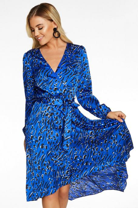 Blue Satin Animal Print Midi Dress by Quiz