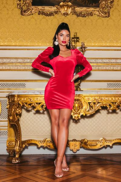Sam Faiers Petite Red Velvet Puff Sleeve Bodycon Dress