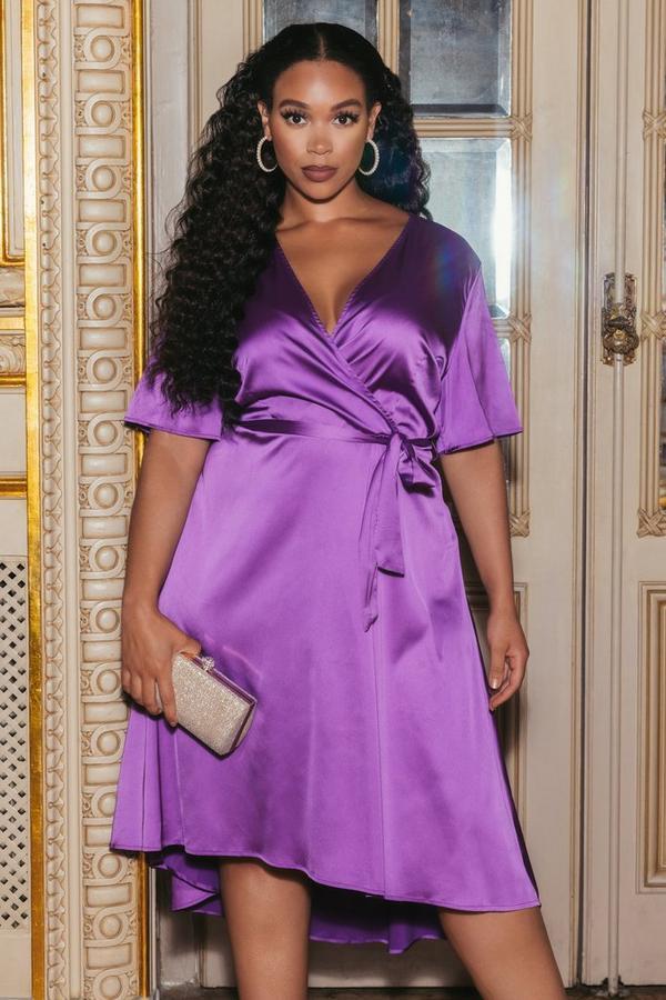 Sam Faiers Plus Size Purple Satin Wrap Dress