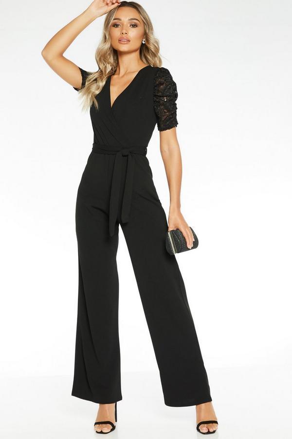 Sam Faiers Black Lace Sleeve Wrap Front Palazzo Jumpsuit