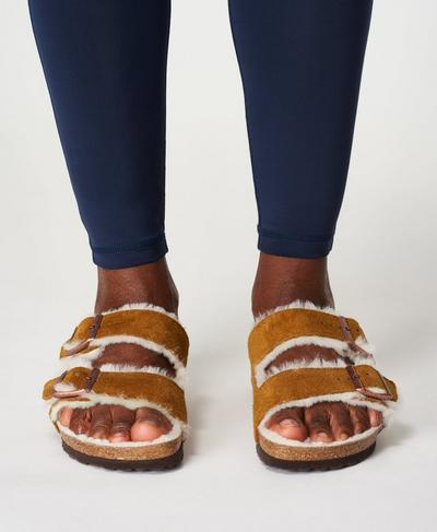 Arizona VL Mink Lammfell Birkenstocks, Mink | Sweaty Betty