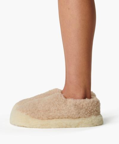 Yoko Wool Siberian Slippers, Pebble Beige | Sweaty Betty