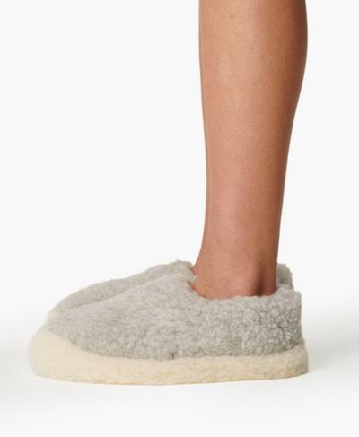 Yoko Wool Siberian Slippers, Pebble Grey | Sweaty Betty