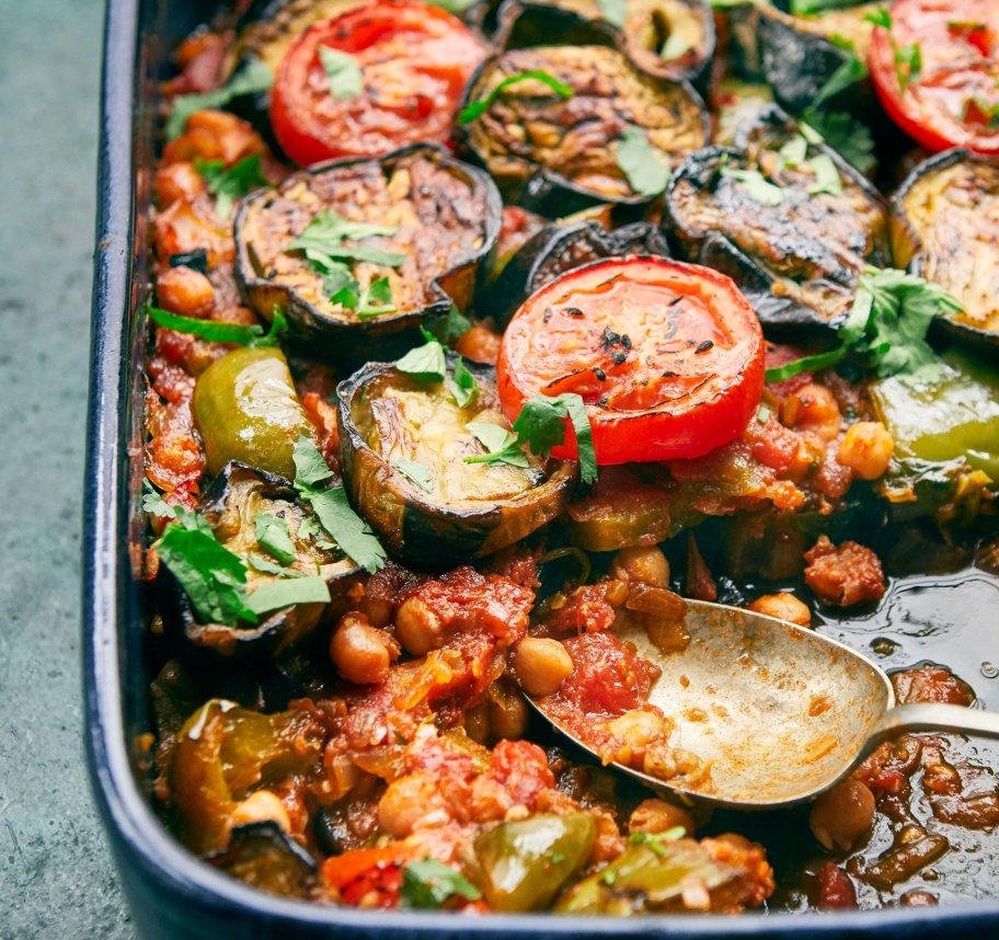 Aubergine and Chickpea Bake