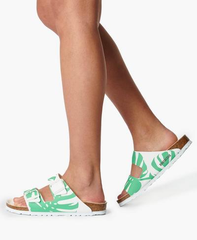 Birkenstock Classic Print Arizona Sandals, Monstera White Bold Jade Print | Sweaty Betty