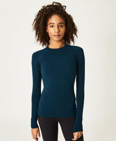 Glisten Bamboo Long Sleeve Running Top, Beetle Blue A | Sweaty Betty