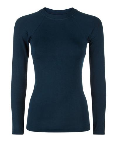 Glisten Bamboo Long Sleeve Workout Top, Beetle Blue A | Sweaty Betty
