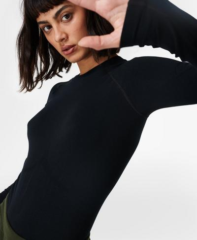 Glisten Bamboo Long Sleeve Running Top, Black | Sweaty Betty