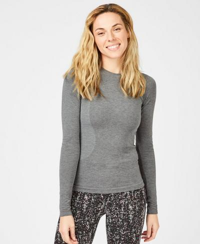 Glisten Bamboo Long Sleeve Running Top, Charcoal Grey | Sweaty Betty