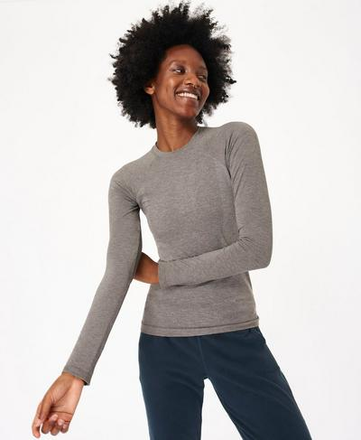 Glisten Bamboo Long Sleeve Running Top, Charcoal Marl | Sweaty Betty