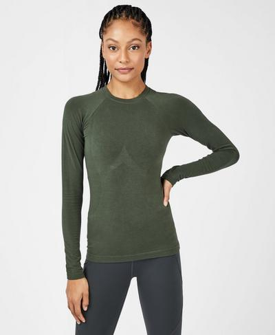 Glisten Bamboo Long Sleeve Running Top, Dark Forest Green | Sweaty Betty