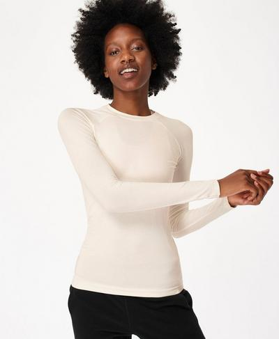 Glisten Bamboo Long Sleeve Workout Top, Lily White | Sweaty Betty