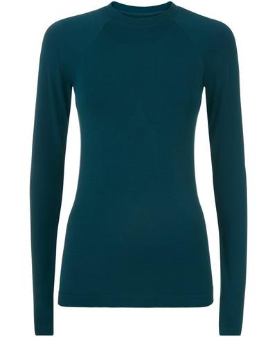 Glisten Bamboo Long Sleeve Workout Top, Midnight Teal | Sweaty Betty