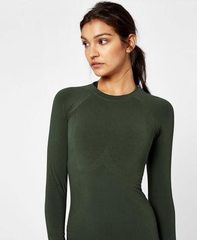 Glisten Bamboo Long Sleeve Workout Top, Olive | Sweaty Betty