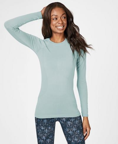 Glisten Bamboo Long Sleeve Workout Top, Storm Blue | Sweaty Betty