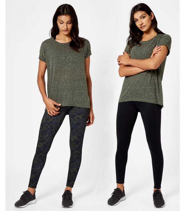 Reversible Yoga Leggings Olive Camo Print | Women's