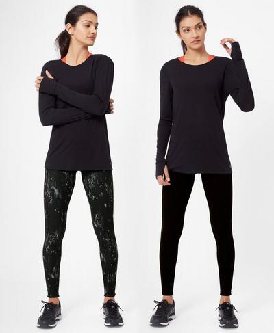 Reversible Yoga Leggings, Tonal Glitch Print   Sweaty Betty