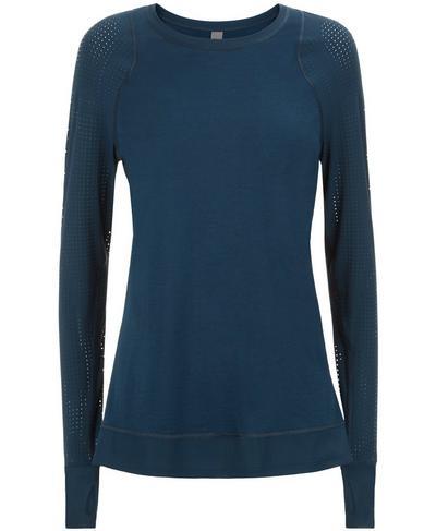 Breeze Merino Long Sleeve Run Top, Beetle Blue | Sweaty Betty