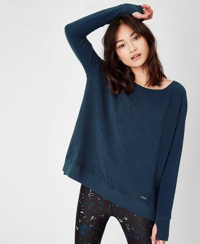 Simhasana Luxe Sweatshirt, Beetle Blue A | Sweaty Betty
