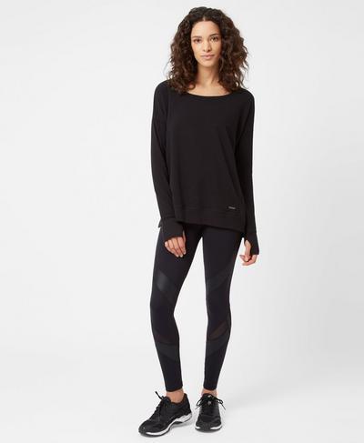 Luxe Simhasana Sweatshirt, Black | Sweaty Betty