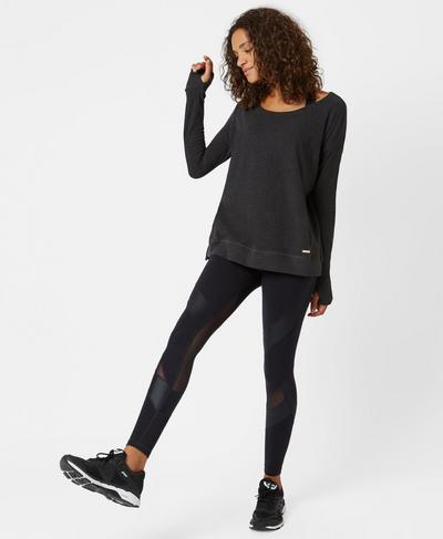 Simhasana Luxe Sweatshirt, Black Marl | Sweaty Betty
