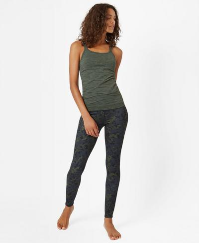 Namaska Padded Yoga Tank, Olive | Sweaty Betty