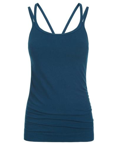 Namaska Bamboo Padded Yoga Tank, Beetle Blue | Sweaty Betty
