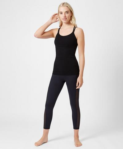 Namaska Bamboo Padded Yoga Vest, Black | Sweaty Betty