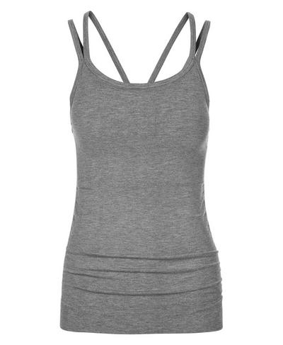 Namaska Bamboo Padded Yoga Tank, Charcoal Marl | Sweaty Betty
