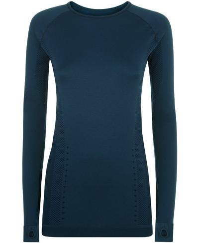 Finish Line Long Sleeve Run Top, Beetle Blue | Sweaty Betty