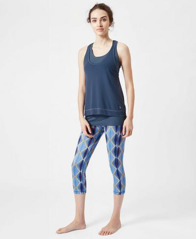 Seamless Double Time Workout Vest, Washed Navy | Sweaty Betty