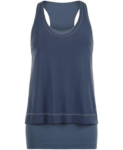 Seamless Double Time Workout Tank, Washed Navy | Sweaty Betty