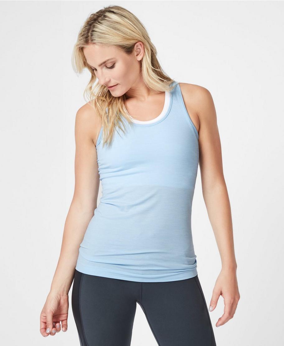 NEW SWEATY BETTY London Athlete Seamless Workout Vest Tank in Black Size M