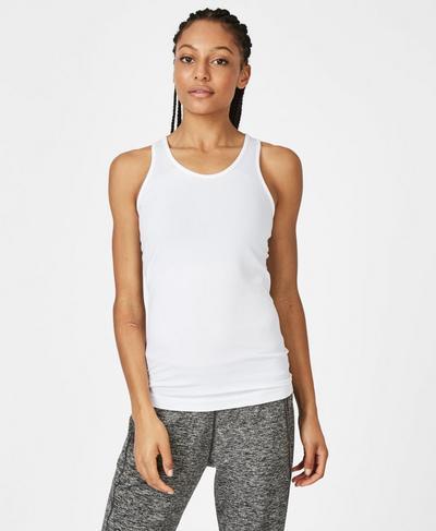 Athlete Seamless Workout Tank, White   Sweaty Betty