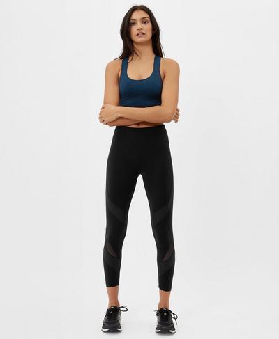 Power Wetlook Mesh 7/8 Leggings, Black | Sweaty Betty