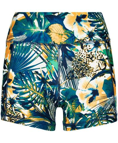 """All Day Contour 4"""" Workout Shorts, Green Hibiscus Floral Print 