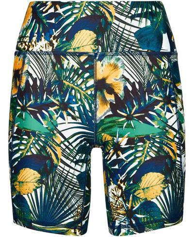 """All Day Contour 9"""" Biker Shorts, Green Hibiscus Floral Print 