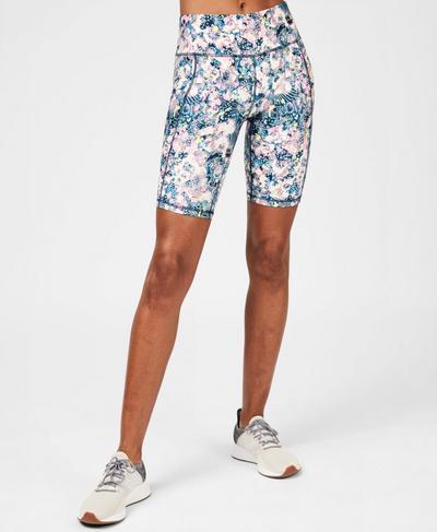 "Contour 9"" Workout Shorts, Pale Pink Doodle Print | Sweaty Betty"