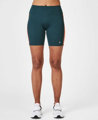 Contour Workout Shorts, Beetle Blue Stripe | Sweaty Betty