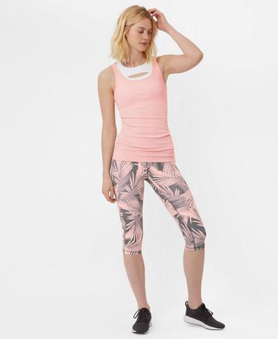 Contour Crop Workout Leggings, Liberated Pink Palm Print | Sweaty Betty