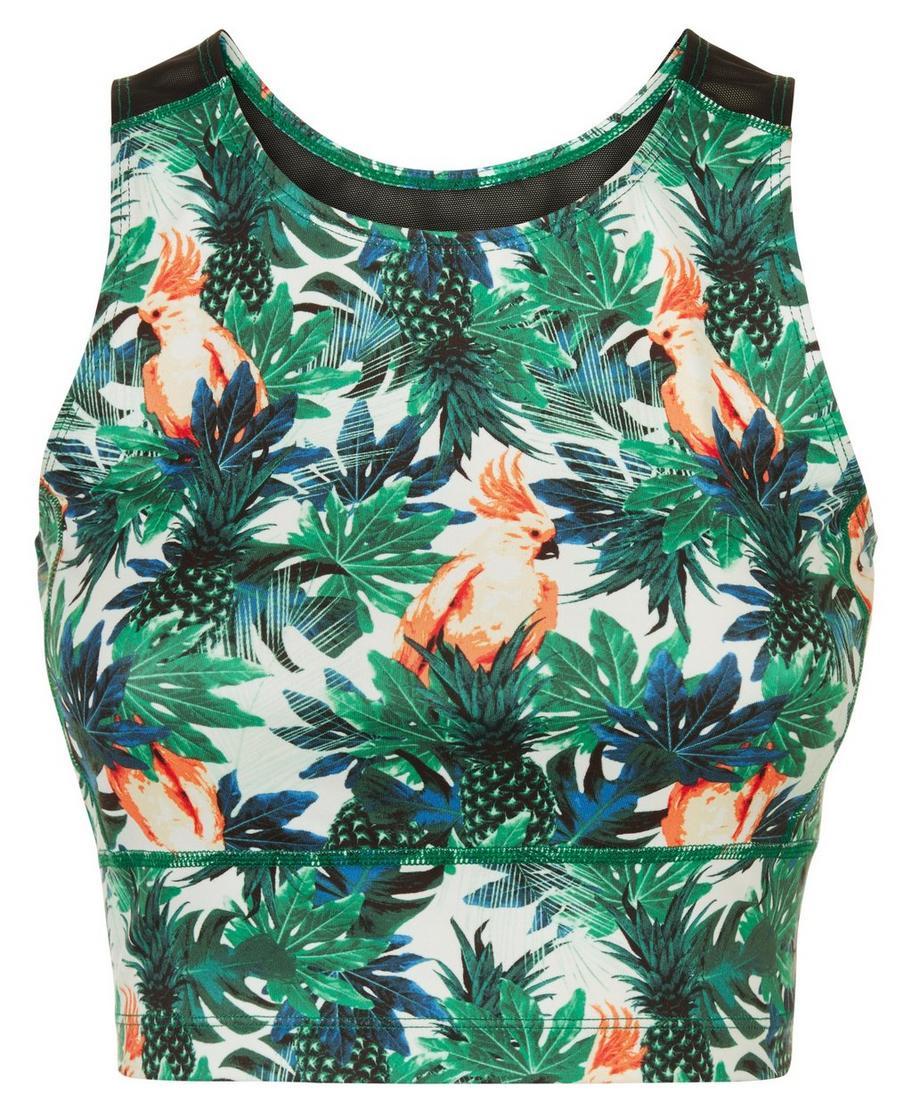 Kenza Workout Crop Top Tropical Print Womens Tanks Sweaty Betty Mom N Bab Short Tee White Small Cactus