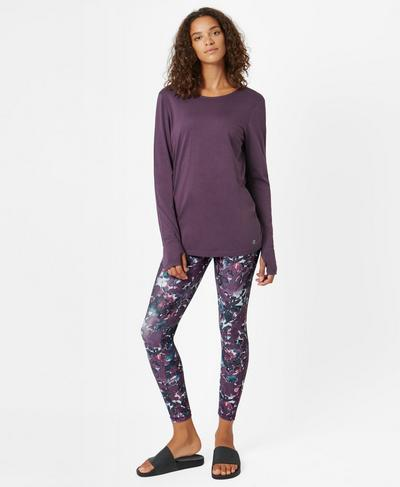 Medina Drape Long Sleeve Yoga Top, Aubergine | Sweaty Betty
