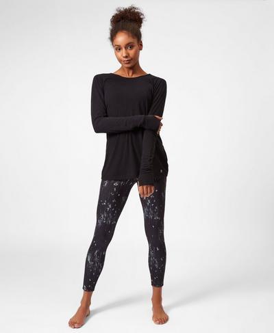 Medina Drape Long Sleeve Yoga Top, Black | Sweaty Betty