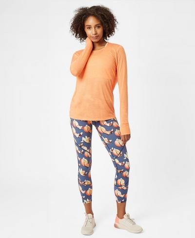 Medina Drape Long Sleeve Yoga Top, MELON | Sweaty Betty