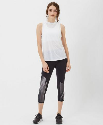 Demi Drape Yoga Vest, White | Sweaty Betty