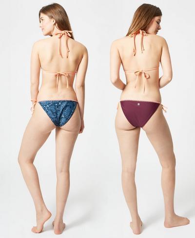 Purity Reversible Bikini Bottoms, Beetle Blue Painted Paisley | Sweaty Betty