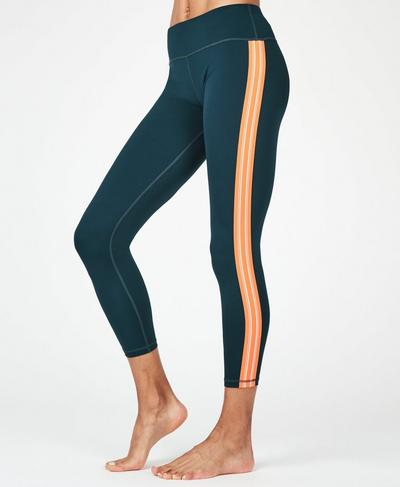 Contour 7/8 Workout Leggings, Beetle Blue Stripe | Sweaty Betty