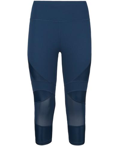 Power Wetlook Mesh Crop Leggings, Beetle Blue | Sweaty Betty